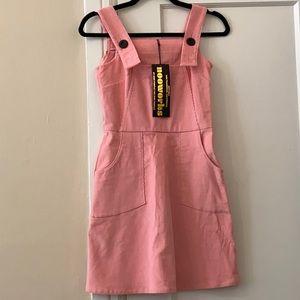 NWT Nooworks pink corduroy bib overall mini dress